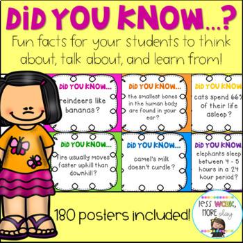 Did You Know Fun Fact Posters - Random Fun Facts