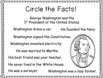 Did You Know . . . George Washington  ~ Emergent Reader and other activities