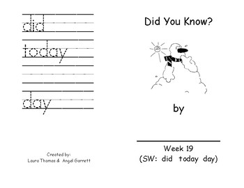 Did You Know?  -  Sight Word Book Week 19