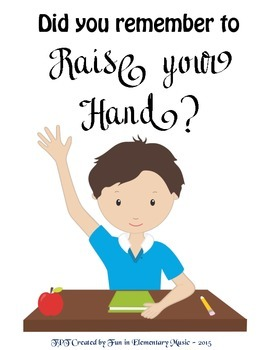 Did You Remember to Raise Your Hand Classroom Rules Poster Boy