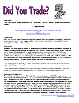 Did You Trade?  Adventures in Place Value
