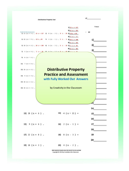 Distributive Property Practice and Assessment with Fully Worked Out Answers