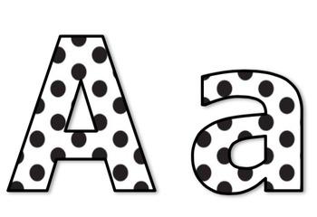 Die-Cut Letters for Bulletin Boards (Black & White Polka Dots)