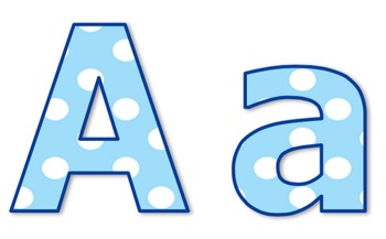 Die-Cut Letters for Bulletin Boards (Blue & White Polka Dots)