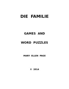 Die Familie   Games and Word Puzzles