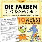 Die Farben German Colors Crossword Puzzle