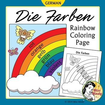 Die Farben German Colors Rainbow Coloring Page