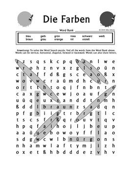 Die Farben German Colors Word Search Puzzle Worksheet