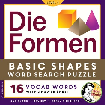 Die Formen: German Shapes Vocabulary Word Search Puzzle Worksheet