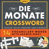 Die Monate German Months Crossword Puzzle Worksheet