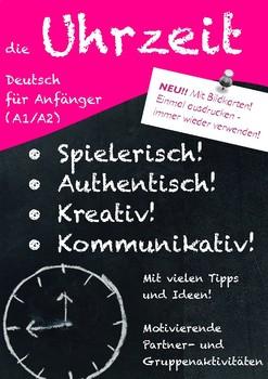 Die Uhrzeit - Deutsch für Anfänger; Telling the time German, 20 pages! worksheet