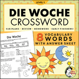 Die Woche German Days of the Week Crossword Puzzle Worksheet