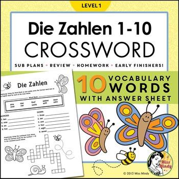 Die Zahlen - German Numbers 1-10 Crossword Puzzle Worksheet