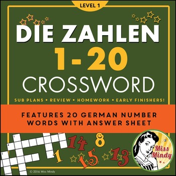 Die Zahlen - German Numbers 1-20 Crossword Puzzle Worksheet