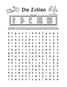 Die Zahlen German Numbers 1-20 Word Search Puzzle Worksheet