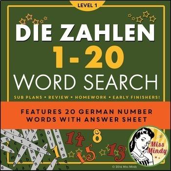 Die Zahlen German Numbers 1-20 Word Search Puzzle Worksheet