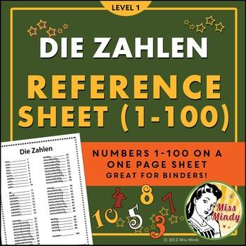 Die Zahlen German Numbers 1-100 Reference Sheet