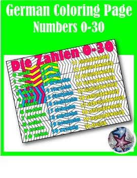 Die Zahlen Numbers 0-30 - German Adult Coloring Pages