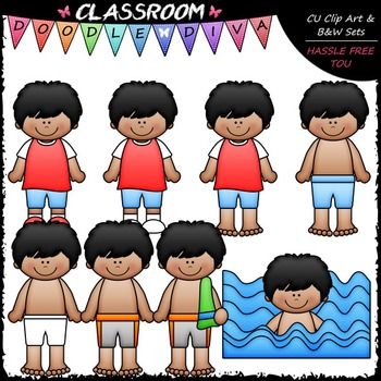 Diego Gets Dressed For Swimming Clip Art - Sequence Clip Art & B&W Set