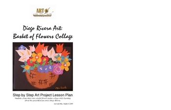 Diego Rivera Art:  Basket of Flowers Collage