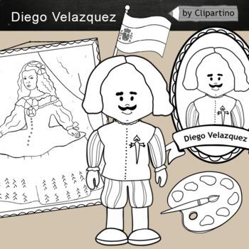 Diego Velazquez clipart BW - Artists Clip Art