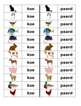Dieren (Animals in Dutch) Dominoes