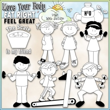 Diet and Exercise Clip Art - Health & Diet Clip Art - CU Clip Art & B&W