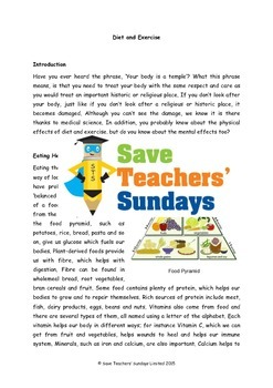 Diet and exercise Lesson plan, Text and Worksheets (2 lessons)