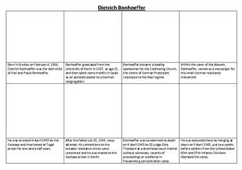Dietrich Bonhoeffer Comic Strip and Storyboard