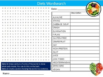 Diets Wordsearch Puzzle Sheet Keywords Activity Food Health