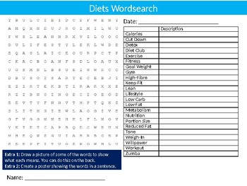 Diets Wordsearch Sheet Starter Activity Keywords Healthy Eating Food