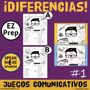 Diferencias * Juego de Comunicación en Español *Spanish Prepositions Game