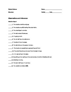 Observation And Inference Worksheet Teaching Resources Teachers