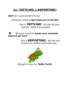 Difference between Tattling and Reporting
