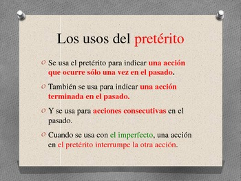 Difference between the Preterite and Imperfect
