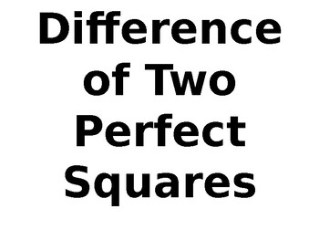 Difference of Perfect Squares Powerpoint Slides