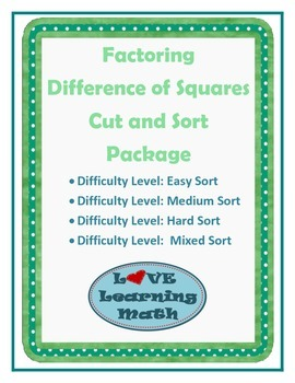 Difference of Squares Factoring Cut and Sort