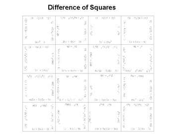 Difference of Squares Fun Square Puzzle