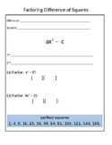 Difference of Squares Graphic Organizer