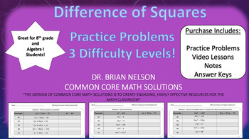 Difference of Squares (Practice Problems – 3 different difficulty levels!)