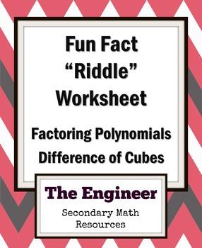 "Difference of Two Cubes Fun Fact Worksheet / ""Riddle"" Worksheet / Homework"