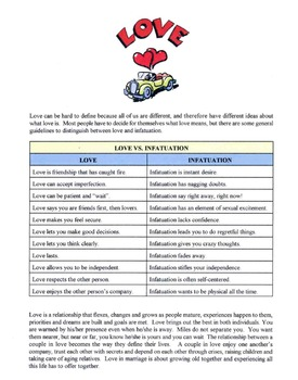 Differences Between Love & Infatuation Lesson