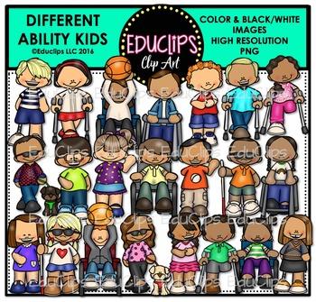 Different Ability Kids Clip Art Bundle {Educlips Clipart}