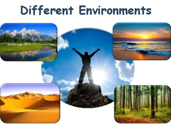 Different Environments Flashcards - task cards, study guide, 2017, 2018 update