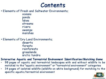 Different Environments Lesson - classroom unit, study guide 2018, 2019 update