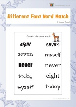 Different Font Word Match (3rd Grade)