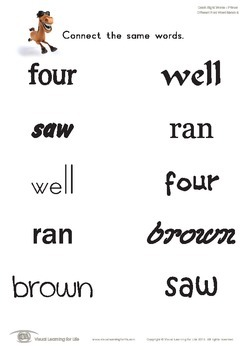 Different Font Word Match (Kindergarten)