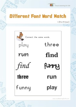 Different Font Word Match (Pre-K)