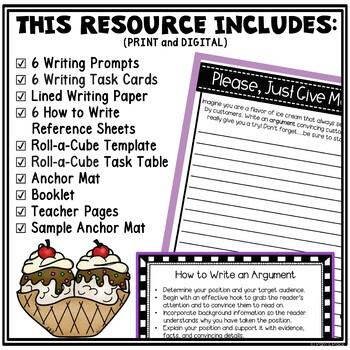 Writing Center and Tasks: Ice Cream Theme