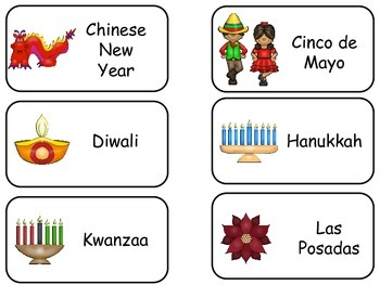 Different Holidays Picture Word Flash Cards. Preschool flash cards for children.